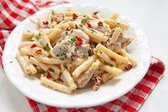 Penne pasta med feg och kräm- sås Royaltyfri Fotografi