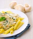 Penne pasta with mushroom Stock Photo