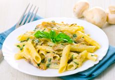 Penne pasta with mushroom Royalty Free Stock Photography