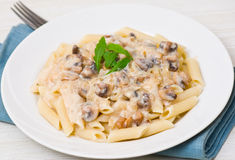 Penne pasta with mushroom sauce Royalty Free Stock Photo