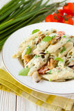 Penne pasta with mussels and basil Royalty Free Stock Photos
