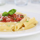 Penne pasta with Napoli tomato sauce noodles meal Royalty Free Stock Photo