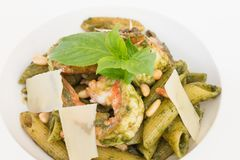 Penne pasta Pesto Royalty Free Stock Image