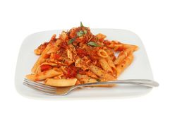 Penne pasta on a plate royalty free stock images