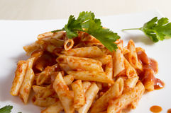 Penne pasta with a sauce Stock Image