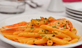 Penne Pasta with Scampi Royalty Free Stock Image