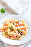 Penne pasta with shrimps Royalty Free Stock Photography