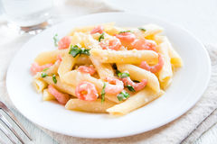 Penne pasta with shrimps, cream sauce Royalty Free Stock Images