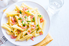 Penne pasta with shrimps Royalty Free Stock Photo