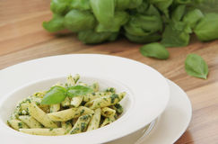 Penne pasta with spinach pesto. Close up view. Penne pasta with spinach pesto and basil herb Royalty Free Stock Images