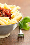 Penne pasta with a tomato bolognese beef sauce Royalty Free Stock Photography