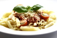 Penne pasta with tomato sauce Royalty Free Stock Image