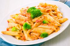 Penne pasta with tomato sauce Royalty Free Stock Images