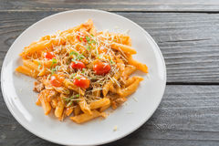 Penne pasta. In tomato sauce Royalty Free Stock Images