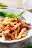 Penne pasta with tomato sauce and basil Stock Photography