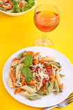 Penne pasta with tomato sauce and basil Royalty Free Stock Photo