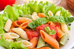Penne Pasta with Tomato Sauce Stock Photo