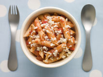 Penne Pasta Tomato Sauce and Grated Cheese Stock Image