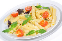 Penne pasta with vegetables stock image