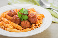 Free Penne Pasta With Meatballs In Tomato Sauce On Plate Stock Photography - 64747032