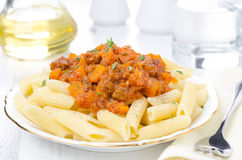 Penne Pasta With Sauce Of Beef, Tomato And Pumpkin Horizontal Royalty Free Stock Images
