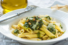 Penne, penne ala pesto genovese Stock Photography