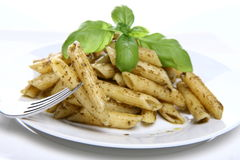 Penne with pesto Royalty Free Stock Photo