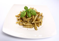 Penne with pesto Royalty Free Stock Photos