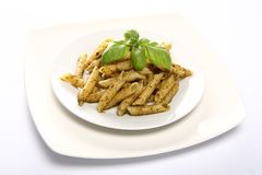 Penne with pesto Stock Image
