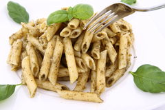 Penne with pesto Royalty Free Stock Photography