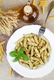 Penne with pesto. Stock Image