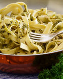 Penne with Pesto on Fork Stock Images