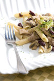 Penne with pork pieces Royalty Free Stock Photos