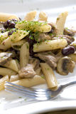 Penne with pork pieces Stock Photography
