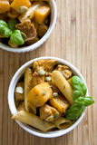 Penne with pumpkin Stock Photos