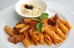 Penne red spicy curry sauce Royalty Free Stock Photo