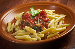 Penne rigata with marinara sauce Stock Image