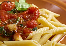 Penne rigata with marinara sauce Stock Photography