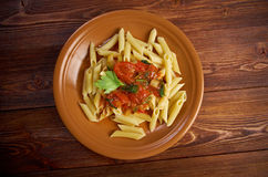Penne rigata with marinara sauce Royalty Free Stock Images