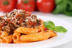Penne Rigate Bolognese or Bolognaise sauce noodles pasta meal Stock Photo