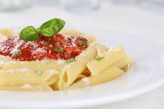 Penne Rigate Napoli with tomato sauce noodles pasta meal stock photo