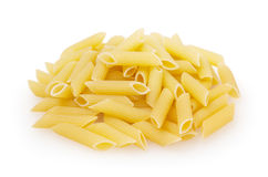 Penne rigate pasta isolated on white background Stock Photos