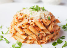 Penne rigate pasta with parmesan cheese Royalty Free Stock Photo