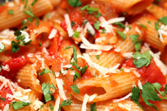 Penne rigate pasta with tomato sauce Royalty Free Stock Images