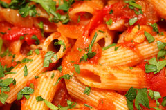 Penne rigate pasta with tomato sauce royalty free stock photo