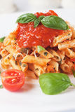 Penne rigate pasta with tomato sauce Royalty Free Stock Photos