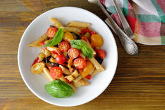 Penne with roasted eggplant and tomato Royalty Free Stock Image