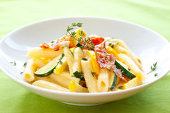 Penne with sauce carbonara Royalty Free Stock Image