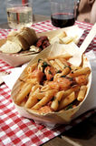 Penne with seafood and basil Stock Photography