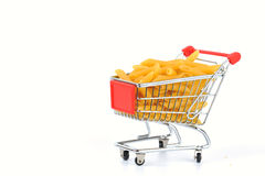 Penne in shopping basket Royalty Free Stock Images